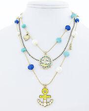 BETSEY JOHNSON 'Ship Shape' Nautical Anchor Sailboat Bead Illusion Necklace $48