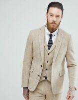 Ivory Men Herringbone Tweed Wool Suit Groom Prom Party Tuxedo Wedding Suit
