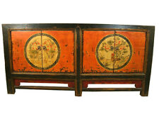 A Chinese Beautiful Cabinet Tv Table with Colorful Painting Mongolian pattern