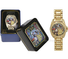 Disney BEAUTY and BEAST Belle Stained Glass Design Rhinestone Gem Goldtone Watch