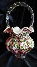Fenton Art Glass Vasa Murrhina Rose Green Aventurine Basket Signed Bill Fenton
