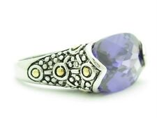 PLATINUM 18KT GOLD STERLING SILVER DIAMOND SET AMETHYST BALI DESIGN BAND RING