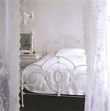 TWO DRAPE PANELS SHABBY FRENCH ROSES CHIC WHITE LACE NETTING WINDOW CURTAIN