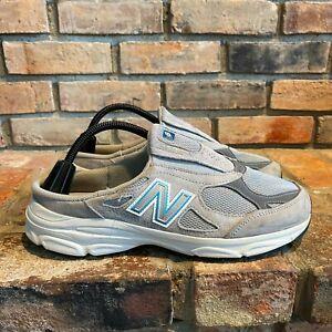 Vtg New Balance Womens 990 Leather Slip On Round Toe Gray White Mule Shoes 10.5