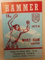 1977/78 WEST HAM UNITED v IPSWICH TOWN  - 24th March
