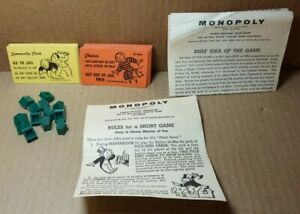 Vintage 1961 Monopoly Pieces & Instructions (C-1)