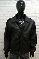 Giubbotto Uomo Vera Pelle Nero U.S. FORCE Taglia 54 Giacca Jacket Man Leather