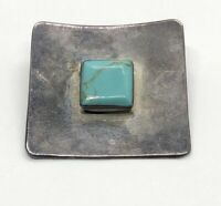 Vintage Sterling Silver 925 Pendant Turquoise Modernist Mexico Square
