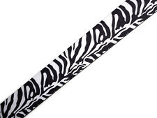 PERRI'S Zebra black and white pattern Guitar Strap - NEW - w/ Leather Ends