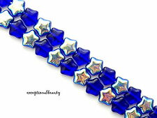 70 Cobalt Blue AB Preciosa Czech Pressed Bohemian Glass 6mm Puffed Star Beads