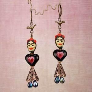 FRIDA KAHLO - Effigy Doll Earrings - Ceramic, Glass, Brass