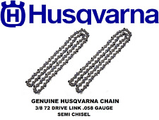 Genuine Husqvarna Chainsaw Chain 72 Drive Link .058 Gauge for 20 Inch Bar X 2