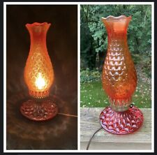 Hurricane Table Lamp Quilted Diamond Pattern Red Orange Glass Vintage Halloween