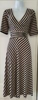 Womens Monsoon Blue Beige Stripe Crossover Stretch Fit And Flare Midi Dress 12.