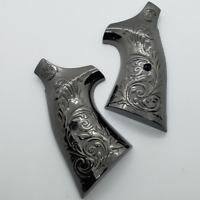 Custom Smith & Wesson Scroll Metal Grips - K-Frame Square Butt Gloss black