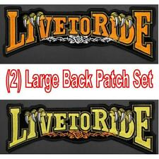 Live To Ride 2 Large Iron Or Sew On Embroidered Backpatch Back Patch Set