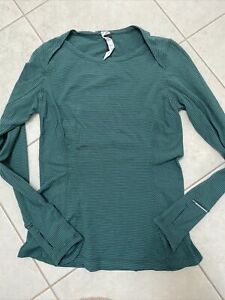 Lululemon Catch Me If You Can Long sleeve, Running, Size 8, Green Stripe!