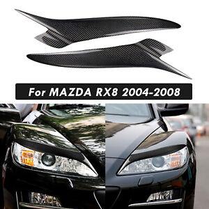 Dry Carbon Fiber Front Headlight Eyebrow Trim Sticker Strip For MAZDA RX8 04-08