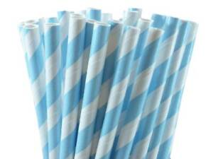 """Baby Blue And White Striped Paper Straws 8"""" (20cm) Biodegradable Compostable"""