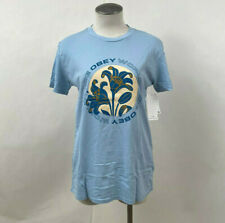 Obey Women's T-Shirt Coats of Arms Powder Blue Size S NWT Shepard Fairey Flowers