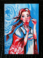 """Original art by Bastet """"Russian Girl"""" OOAK hand painted ACEO"""