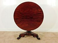 ANTIQUE Empire 1840s Flame Mahogany Tilt Top Hairy Paw Claw Foot Center Table