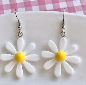 Cute Miniature Daisy Flower Fun Dangle Earrings /Quirky/ Novelty