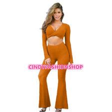 New Women 2PC Outfits Pants set Long Loose Pants V-Neck Short Crop Tops Bodycon