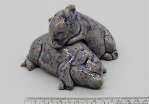 2 Ceramic Pigs Blue Spotted