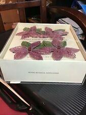 Pottery Barn Purple and Green Flower Beaded Botanical Napkin Rings Set of 4 New