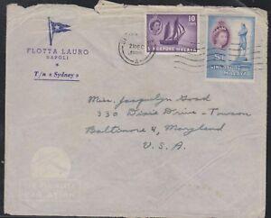 O) 1955 SINGAPORE, ELIZABETH 11-10 CENTS, STAMFORD RAFFLES 1 PESO, COVER TO USA,