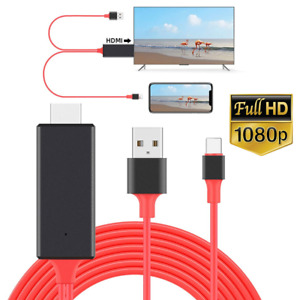 For iPhone 12 11 XR 8 7 6 iPad HDMI Mirroring AV Cable Phone to TV HDTV Adapter