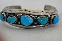 sgnd IRENE TSOSIE Atkinson Trading Navajo BRACELET Sterling Silver w/5 Turquoise