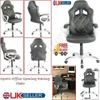 Black Executive Office Computer Chair Sports Racing Gaming Swivel Leather Chairs