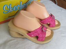 NEW Skechers Cali Ladies Pink Wedge Mules Sandals Size 7