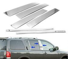 For 2005-2015 Nissan Armada Stainless Steel Chrome Window Door Pillar Post Trim