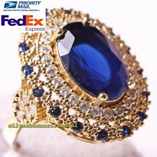 Turkish 925 Sterling Silver Multi Sapphire and Zircon Stone Ladies Womans Ring