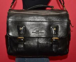 TOMMY BAHAMA Black Leather Messenger Cross-body Briefcase Shoulder Purse Bag