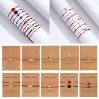 2Pcs Handmade Heart Star Braided Rope Bracelet Bangle Necklace Card Jewelry Set