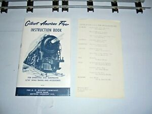 AMERICAN FLYER INSTRUCTION BOOKLET WITH SERVICE STATION PERIPHERAL PAPER