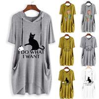 Women Casual Print Cat Tops Girls Short Sleeve Hooded Pocket Blouse Long Shirt