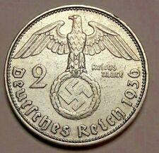 2 Reichsmark 1936 <<=>> 1939 ABDFGJ  WWII Silver III Reich Reichsmark KM# 93