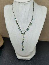 "Liz Palacios S.F. Blue Green Tonal Swarovski Crystal Charm Lariat Necklace 16"""