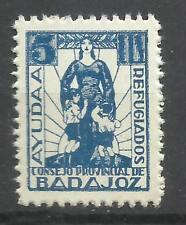 2006A-SELLOS LOCALES ESPAÑA GUERRA CIVIL 1937 BADAJOZ REFUGIADOS AYUDA.NUEVO (*)