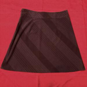 OLD NAVY - STRETCH SKIRT Stripe Brown White FLARE Side Zip - Women Size 8