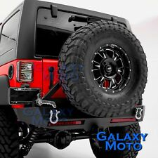 Rock Rear Bumper+Tire Carrier+Smoke Lens 2x LED Light fit 07-18 Jeep JK Wrangler
