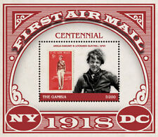 Gambia 2018 first airmail centennary Amelia Earhart Aviation pioneer  I201805