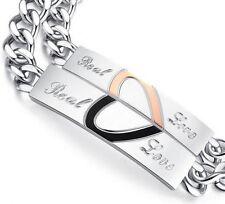 Luxus Set Partner 2 Armband Edelstahl Herz Love  Emaille Schwarz/Gold