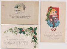 World War I Era 3 Vintage Christmas Postcards 1918 Mailed w 2 Cent War Rate  |
