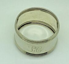 Sterling Silver Napkin Ring Holder LC CL Monogram Initials  Banded Edge Rim